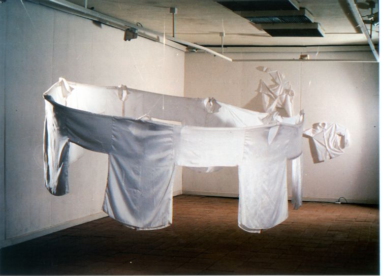Let's Dance/ Clothes for Collective Life (1996) installation view from the solo exhibiton, XXL Gallery 1996